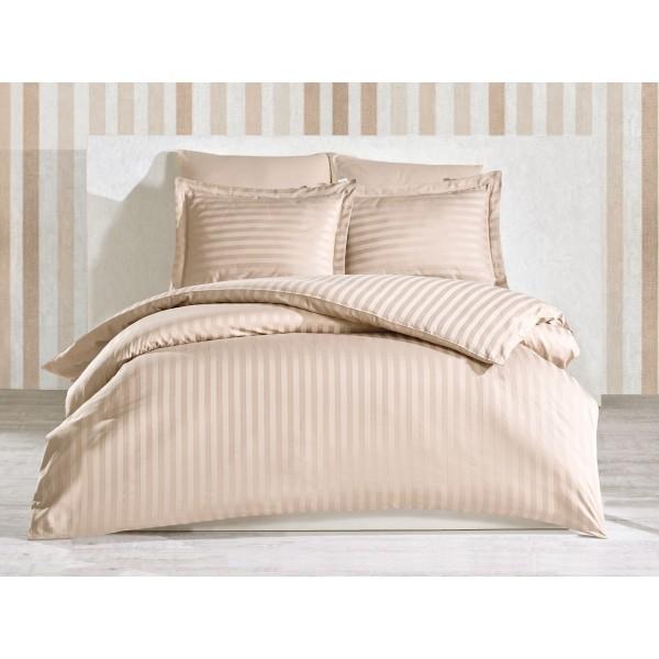 Комплект постельного белья Stripe Beige SoundSleep сатин-страйп бежевый евро