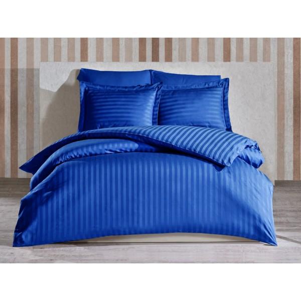 Комплект постельного белья Stripe Navy Blue SoundSleep сатин-страйп синий полуторный