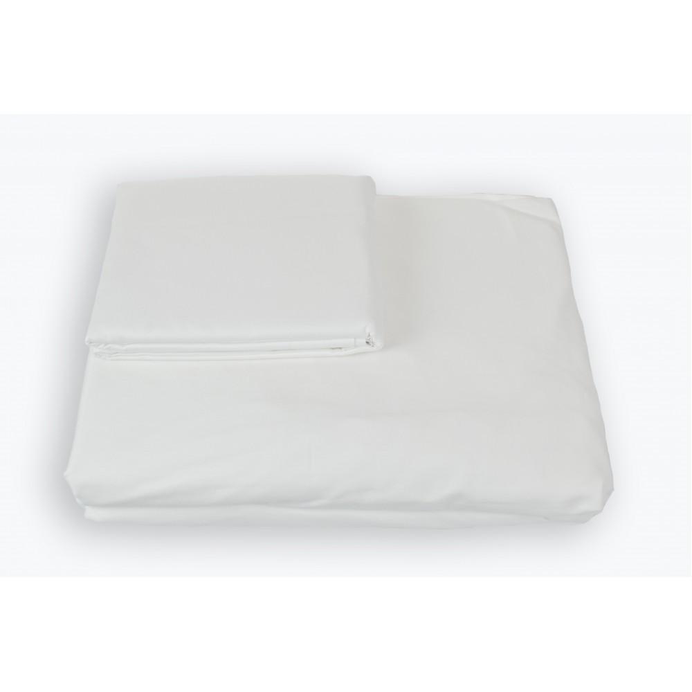 Простынь на резинке SoundSleep Shine сатин white белая 160х200 см