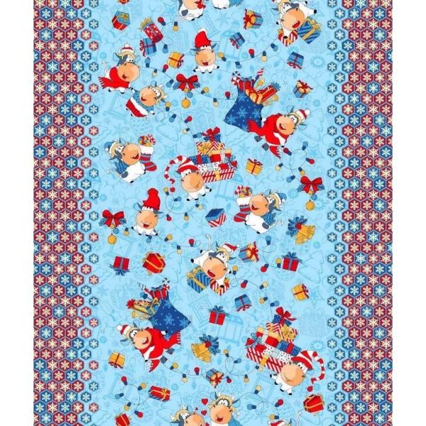Полотенце вафельное кухонное Cows&Presents ТМ Emily синее 40х50 см