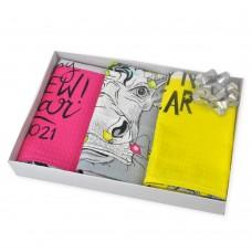 Set of waffle kitchen towels Crazy Cows TM SoundSleep