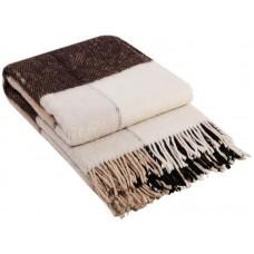 Плед шерстяной Влади Эльф ELF-01.01 белый-бежевый-коричневый 140х200 см